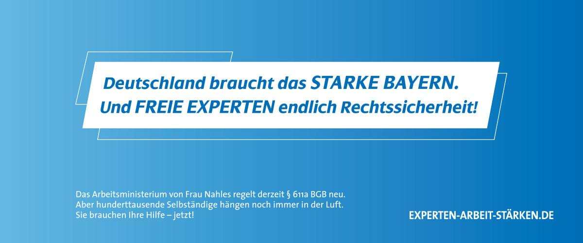 Experten-Arbeit-Stärken starke Bayern und freie Experten Rechtssicherheit